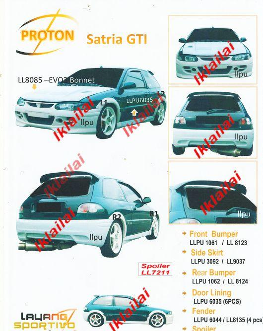 Proton Satria GTi Full Set Body Kit Free Door Lining + Reverse Sensor