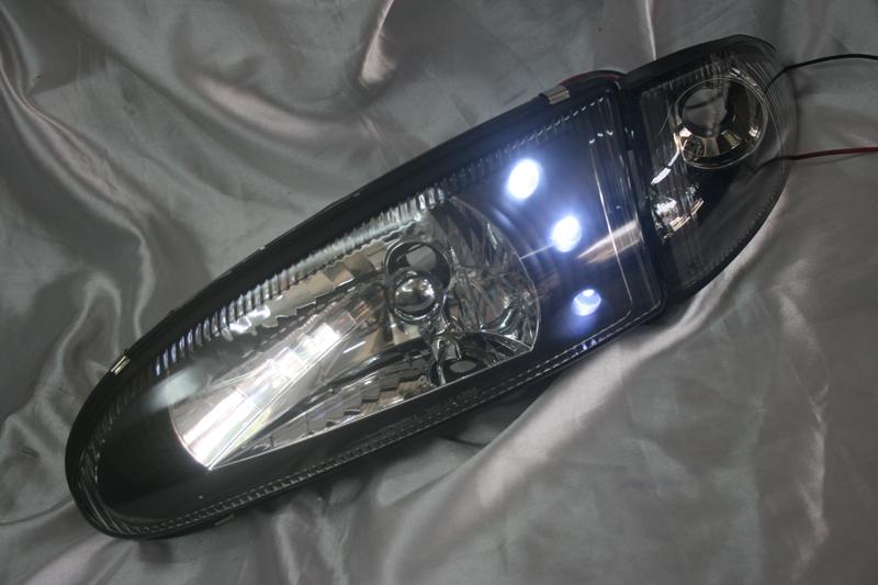 Proton Wira / Satria / Putra Black Face Crystal Headlamp Set w LED
