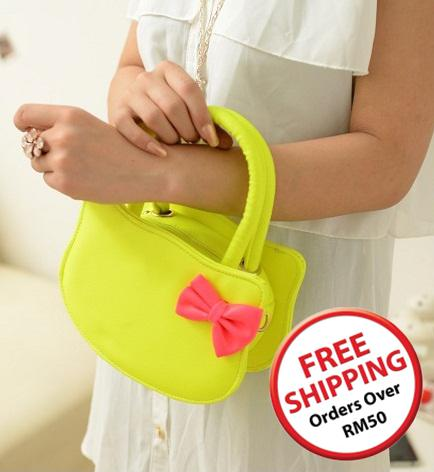 PU Leather Hello Kitty HandBag 15479 (Yellow)