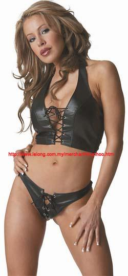 PU Leather Lingerie Bra Panties Pole Dance Costume Set 9193