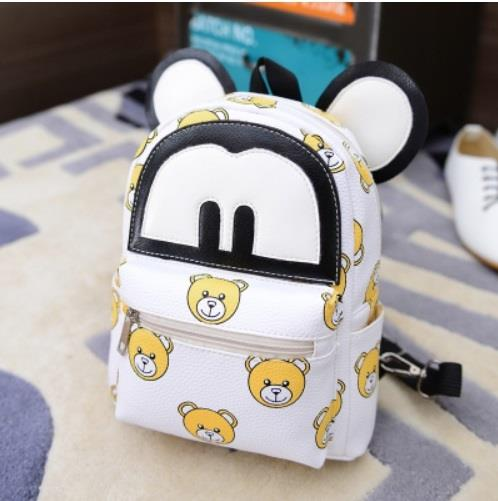 PU Leather Mickey themed Kid's school bag - White Cutie bear