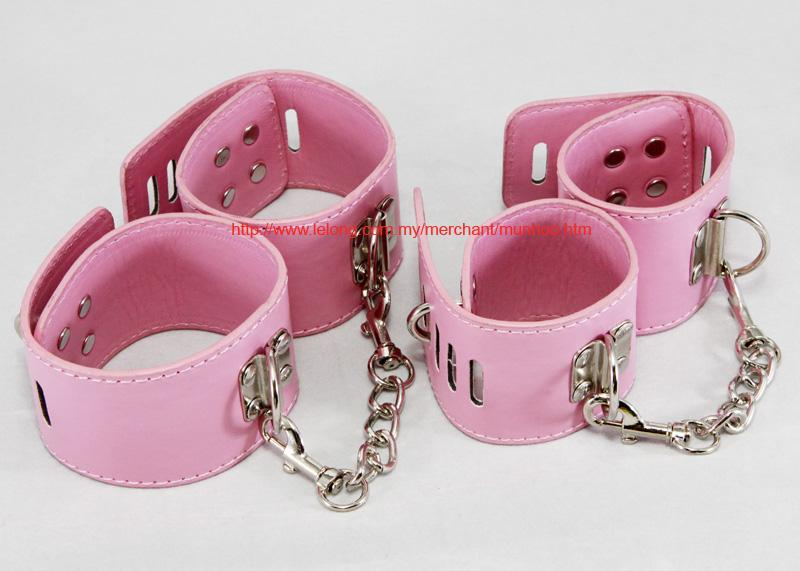 PU Leather Pink Wrist Hand Ankle Leg Strap Buckle Lock Bracelet Chain