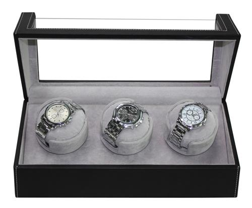 PU Leather Watch Winder 3 Slot Display Case with 4 Programs Setting