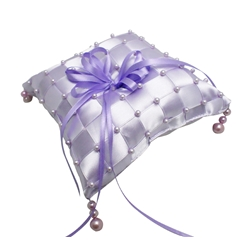 Purple Checkered Ring Pillow with Beads (Scented)