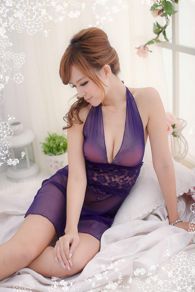 Purple Sexy Women Babydoll Nightdress Lingerie Sleepwear YB208