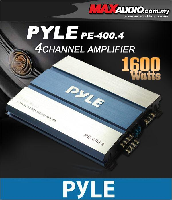 PYLE U.S.A PE-400.4 80W RMS x 4 Channel Amplifier Made In Taiwan