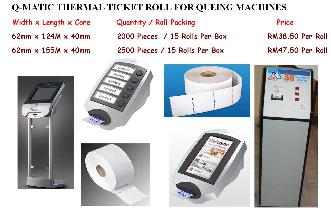 Q MATIC THERMAL TICKET ROLL FOR QUEING MACHINES