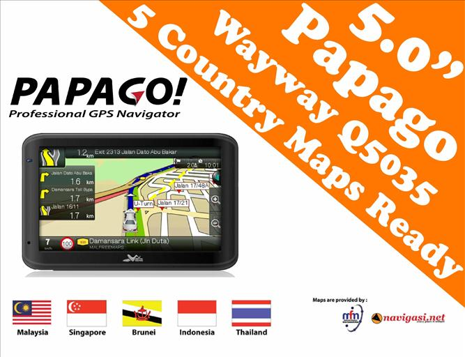 Q5035 5.0' GPS Navigator (Malaysia,Singapore,Thailand,Indonesia & Brunei Map)