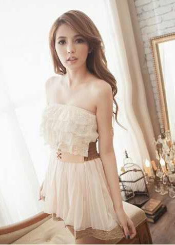 Q8214 Fashion Lace Strapless Sexy Dress with Belt
