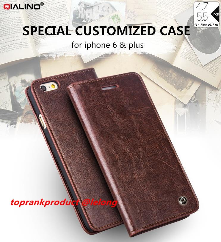 QIALINO Genuine Leather iPhone 6 6S Plus Flip Wallet Case Cover Casing