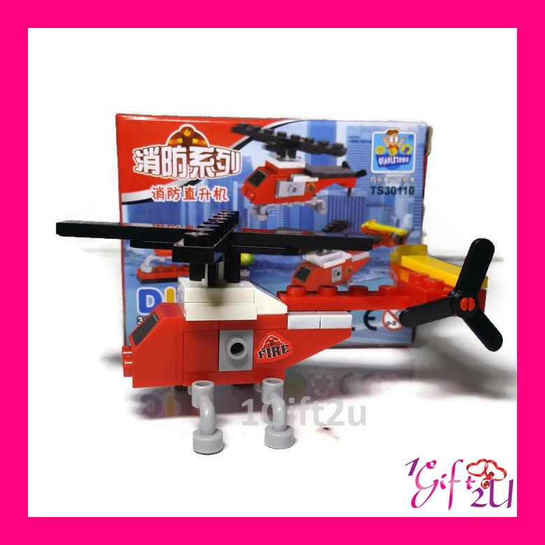 QiaoLeTong Lego Compatible Fire Rescue Team (Helicopter) Building Set