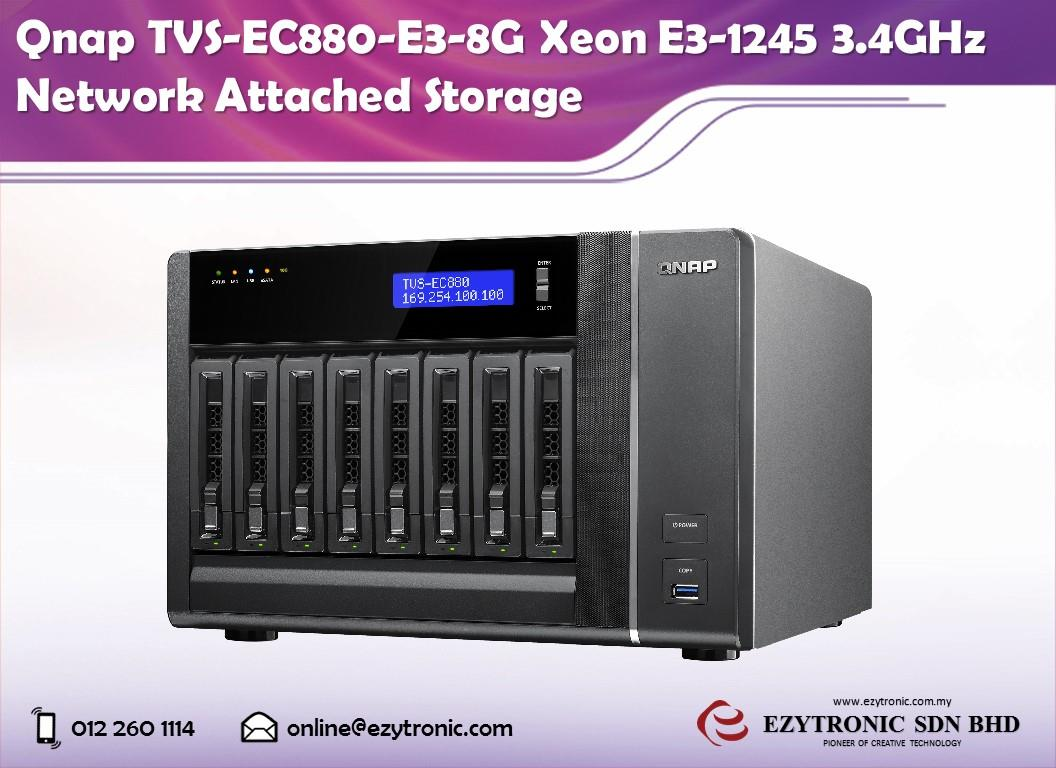 Qnap TVS-EC880-E3-8G Xeon E3-1245 3.4GHz Network Attached Storage