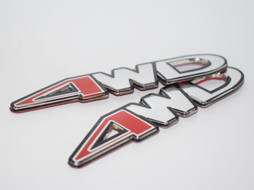 #QOS85 2 Piece 4Wd Chrome Acrylic Top Badge Emblem Logo Fender Chrom