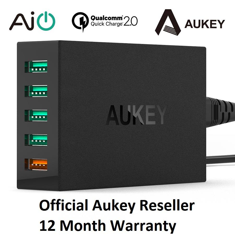 [Qualcomm Certifed] Aukey Quick Charge 2.0 54W 5 Port USB Wall Charger