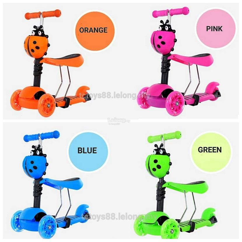 Quality Kids 3 in 1 Scooter. Ladybug Scooter cw flashing wheels. SALES