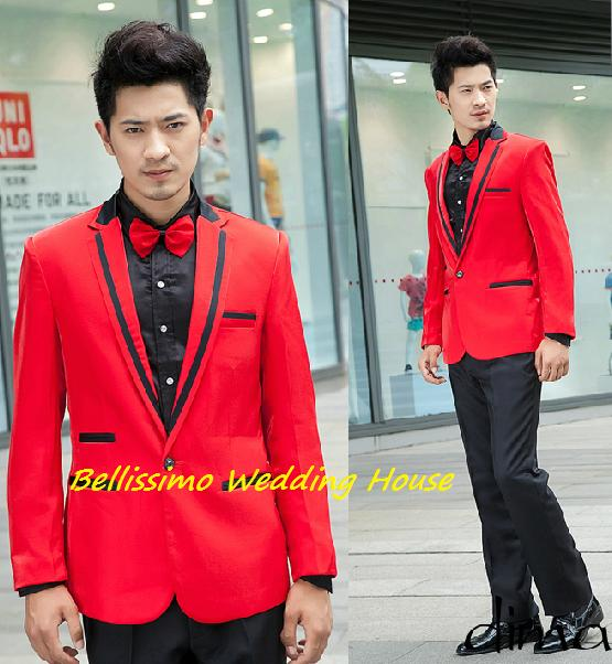 Quality Men/Man Blazer Formal Coat Jacket Wedding (Red)