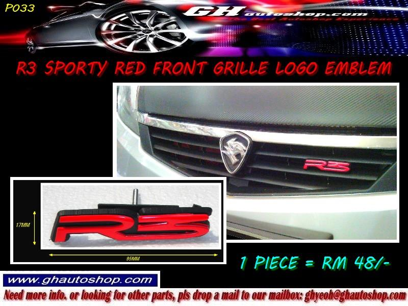 R3 SPORTY RED FRONT GRILLE LOGO EMBLEM P033