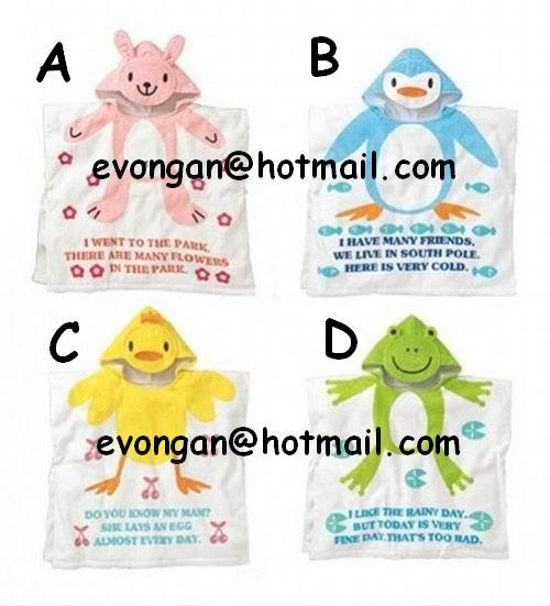 Rabbit, Cow, Penguin etc ~ Towel cute animal 3D cap(bathrobe)~birthday gift