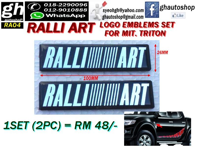 RALLI ART LOGO EMBLEMS SET FOR MITSUBISHI TRITON RA04 (2PC)