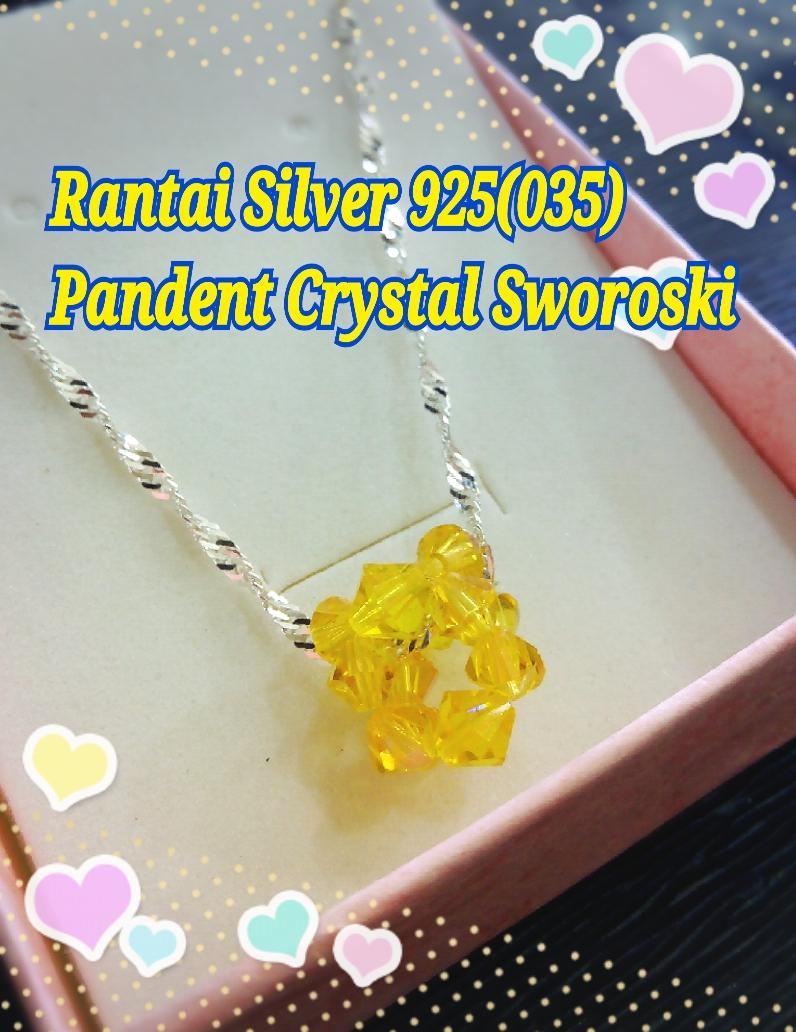 Rantai Leher Silver 925 with Pandent Sworoski Crystal#2