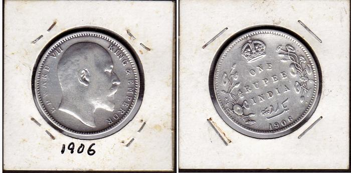 Rare 1906 , India British King Edward VII One Rupee silver coin EF
