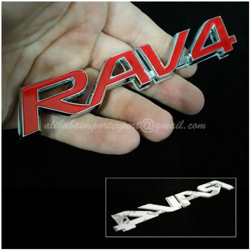 RAV4 Full Red 3D Chrome Car Badge Decal Emblem Trunk Side Logo Replace