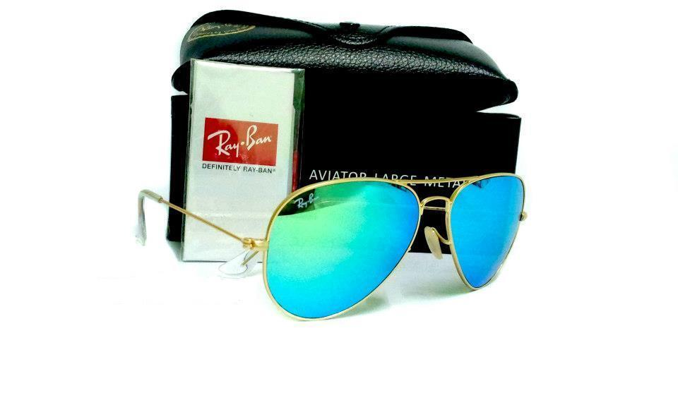 Ray Ban Aviator Blue Lens Gold Frame