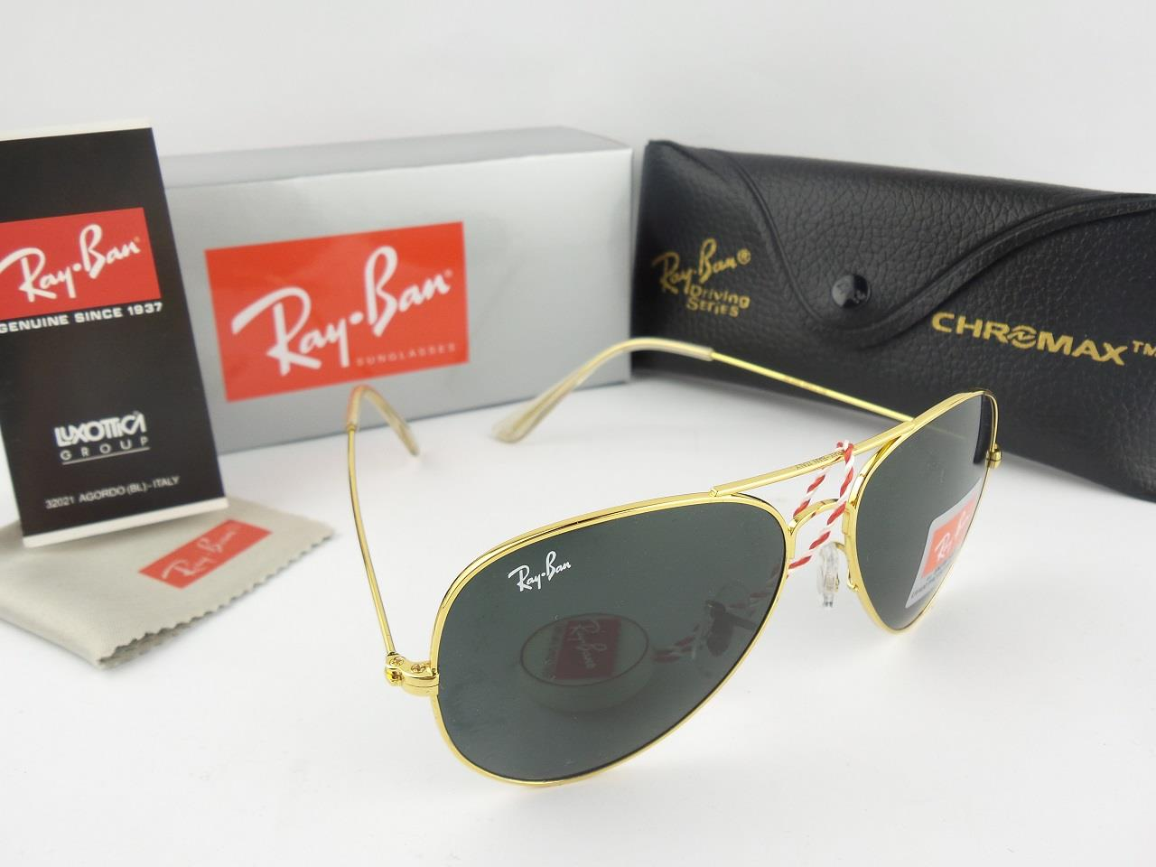 ray ban aviator black lens gold frame
