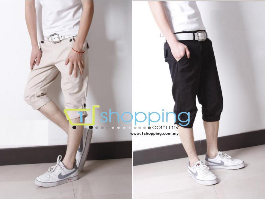 Ready Stock MCP0028 Korean Slim fit men casual 3 quarter pants