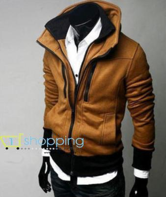 Ready Stock MJC0006 Korean double zipper Collar Men's sweater / jacket