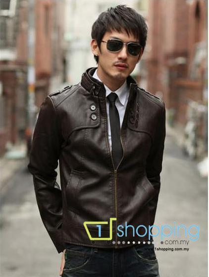 Ready Stock MJC0018 Korean Collar Men Casual leather jacket