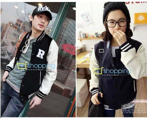 Ready Stock MJC0090 Korea stand-up collar baseball varsity jacket