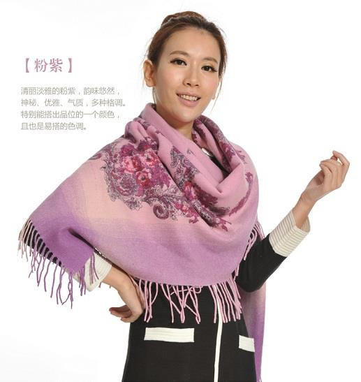 Ready Stock Pashmina 100% Wool  Shawl ~ Creepers Motives (Purple)