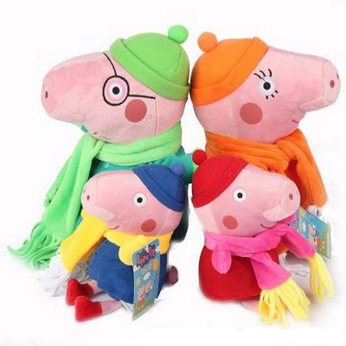 Ready Stock - Peppa Pig Family Set of 4 Soft Toy - Winter Design