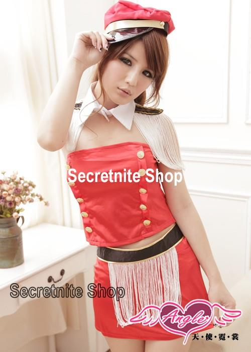 Ready Stock Sexy Red Sailor Costumes with Cap CO-115 (Red)