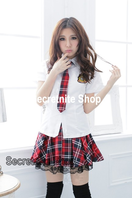 Ready Stock Sexy White School Girl Costumes with Tie CO-219
