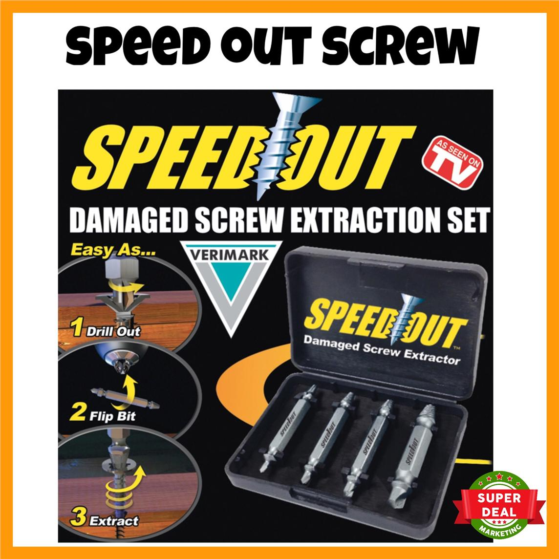 READY STOCK Speed Out Damage Screw Extractor Remove Screw Tool Box