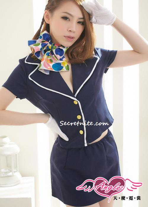 Ready Stock Sun@ Sexy Dark Blue Stewardess Costumes CO-119