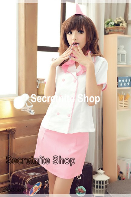 Ready Stock Sun@ Sexy Light Pink Stewardess Costumes with Cap CO-194