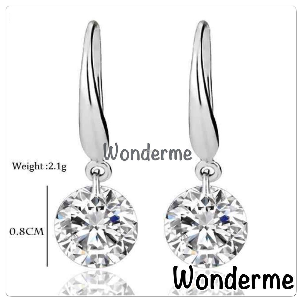 Real Solid 925 Sterling Silver Wedding Engagement Earring 2Ct Diamond
