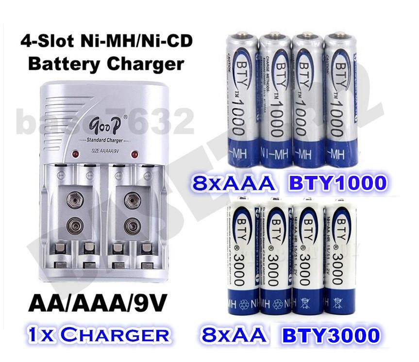 Rechargeable Battery Charger Set+8x AAA BTY1000 +8x AA BTY3000
