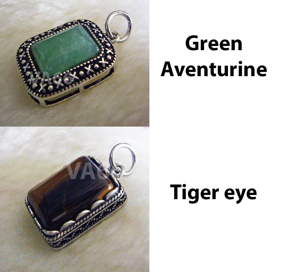 Rectangle Green Aventurine Gemstone Pendant Tiger Eye 18K Feng Shui