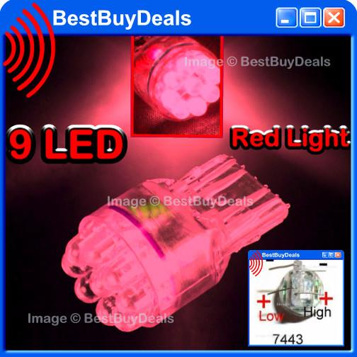 RED 9 LED 7443 7444 T20 Wedge Base Light Bulb 16mm Dual Contact Lamp 1