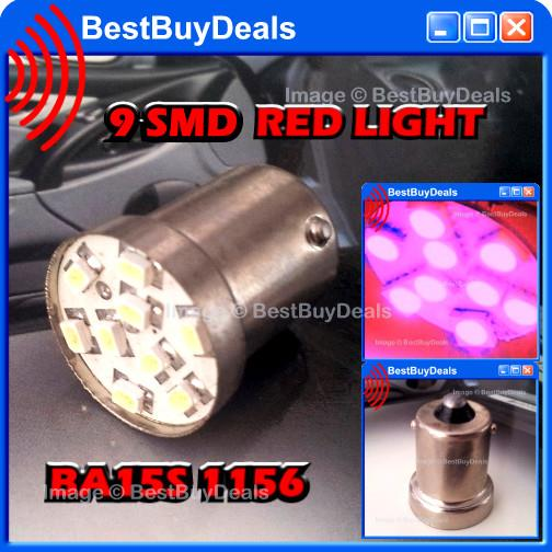 RED 9 SMD Bulb 1156 BA15s BASE 12v Lamp Light LED HID Xenon Bright DRL