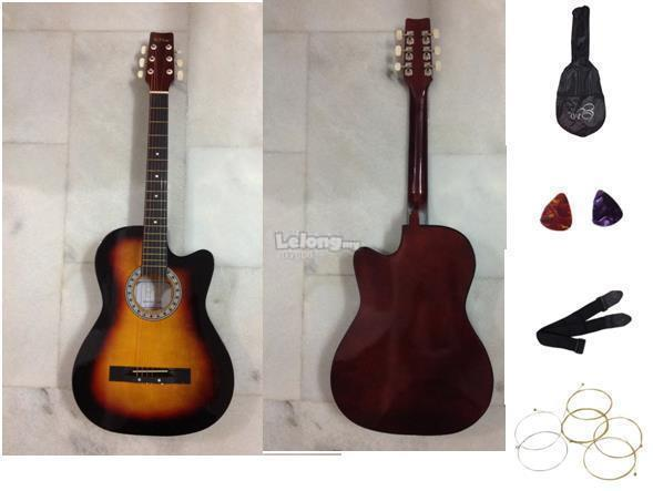 New RED Acoustic Guitar with free bag,strings,strap & 2 picks