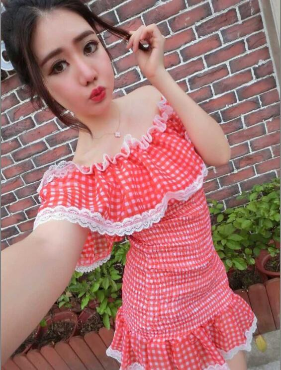 Red Checker Design One Off Shoulder Ladies Fitting Dress