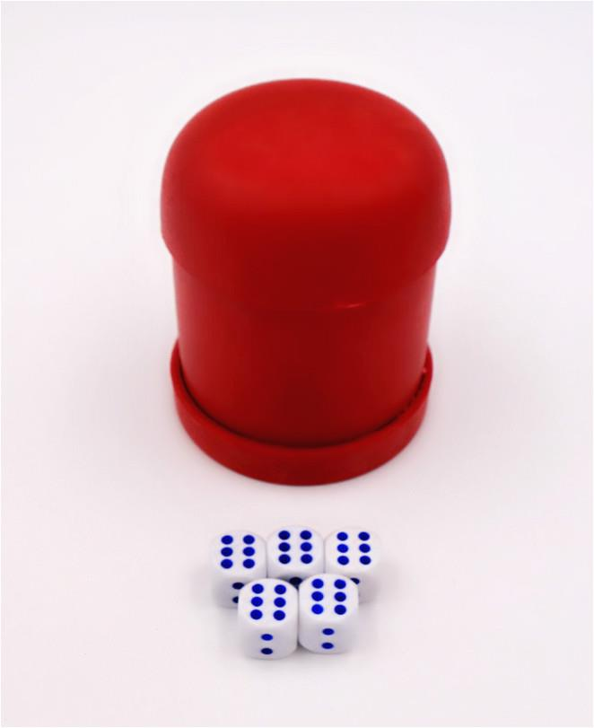 Red Dice Cup with 5 Dice