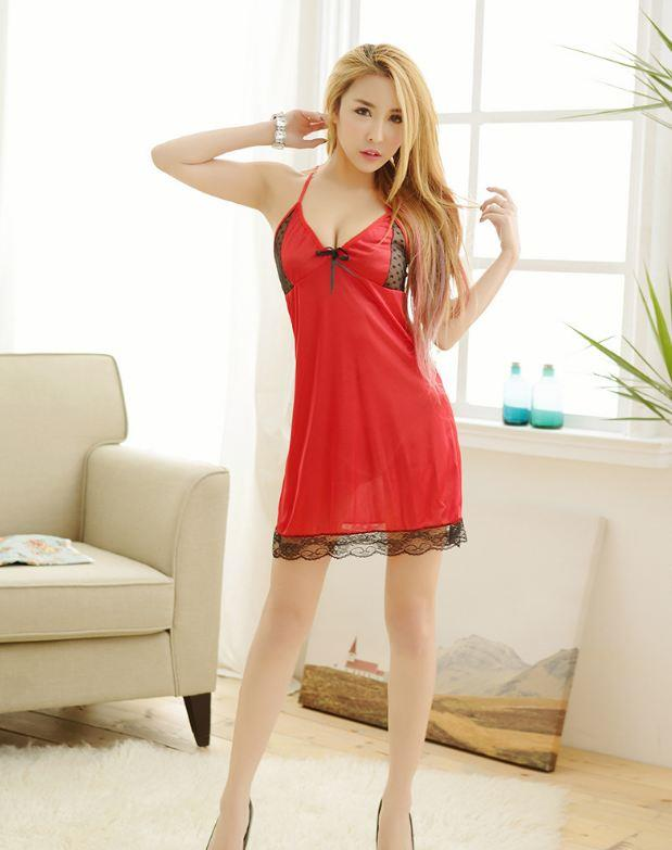 Red Lingerie Nightdress Sleepwear Lace Silk YE219