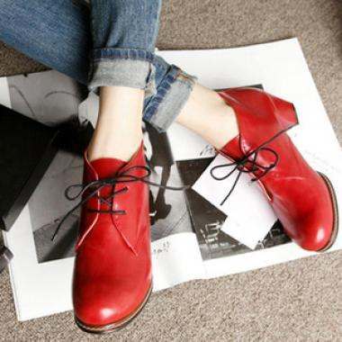 Red) Retro shoes women shoes short boots thick with women in Europe an