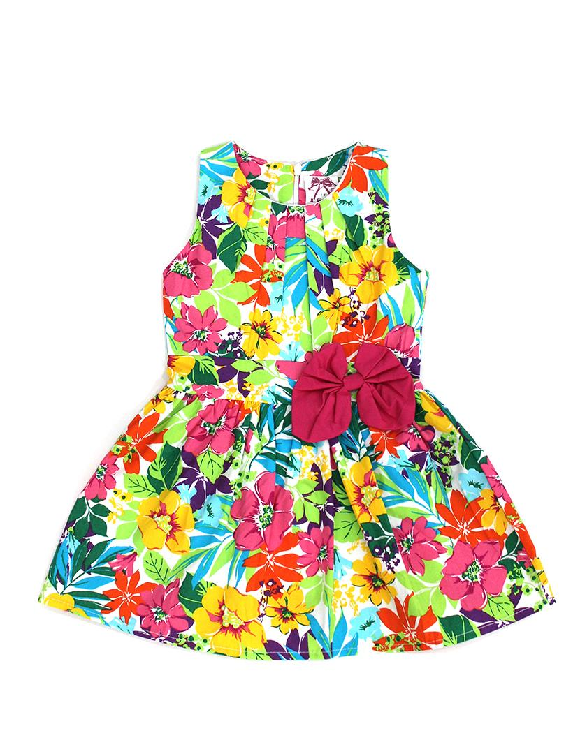 Red Ribbon Colorful Flora Dress